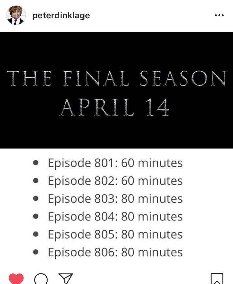 game of thrones 8 durations