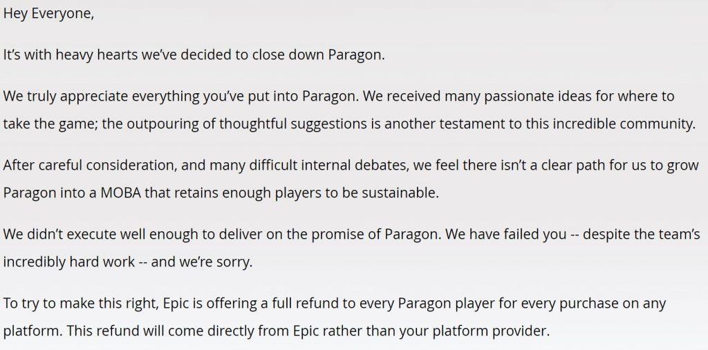 paragon akan ditutup oleh epic games